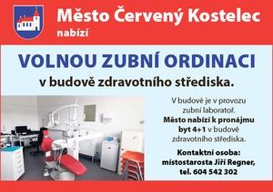 Město Červený Kostelec nabízí volnou zubní ordinaci
